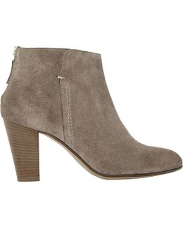 Pharah Suede Back Zip Heeled Ankle Boots