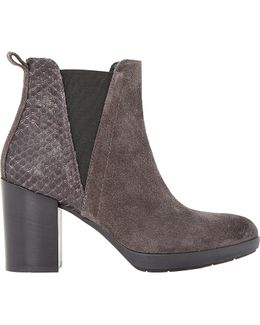 Pondo Suede Reptile Trim Ankle Boots