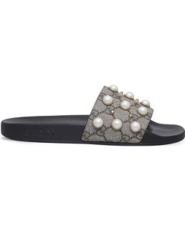 Pursuit Pearl-embellished Rubber Slider Sandals