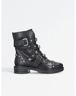 Sander Leather Stud Embellished Boots