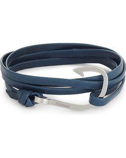 Fish Hook Charm Leather Wrap Bracelet