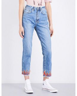 Ladies Embroidered Vintage Chloe Wasted Flame-embroidered Straight High-rise Jeans