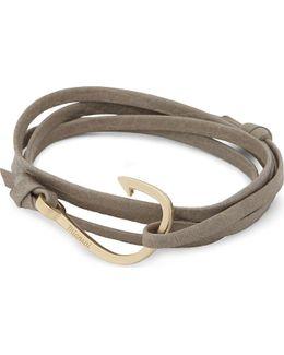 Fish Hook Matte Leather Wrap Bracelet