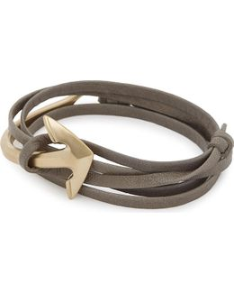 Anchor Leather Wrap Bracelet