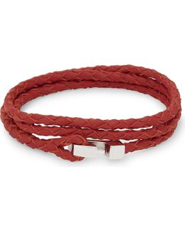 Ipsum Sterling Silver Leather Wrap Bracelet
