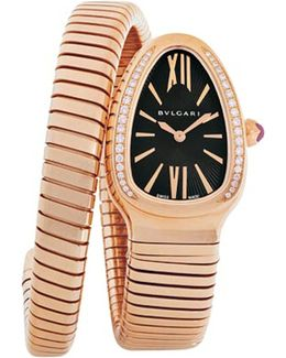 Serpenti Tubogas 18ct Pink-gold And Diamond Watch