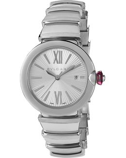 Lvcea Stainless Steel And Pink Cabochon-cut Stone Watch