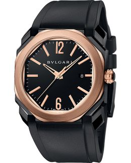 Octo 18kt Pink-gold And Leather Watch