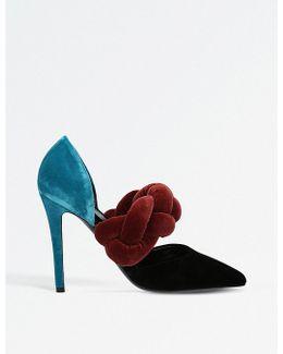 Braided Velvet Heels