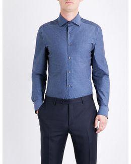 Mens White Linen-pattern Tailored-fit Cotton Shirt