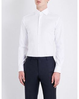 Mens Yellow Slim-fit Cotton-twill Shirt