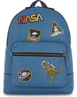 Mens Blue Luxurious Nasa Space Leather Backpack