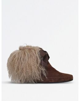 Curly Shearling Suede Ankle Boots