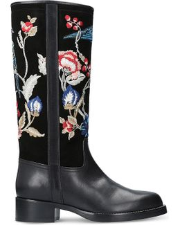 Embroidered Leather And Suede Boots