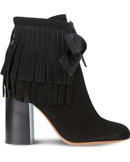 Fringe Suede Heeled Ankle Boots