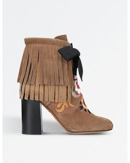 Fringe Embroidered Suede Heeled Ankle Boots