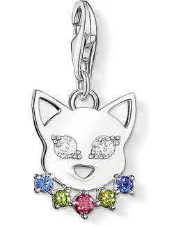 Charm Club Silver And Zirconia Cat Charm