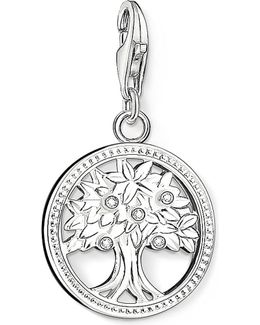 Charm Club Silver And Zirconia Tree Of Life Charm Pendant