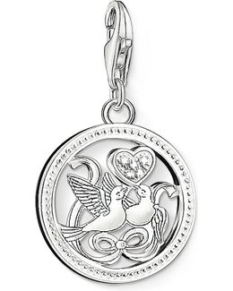 Charm Club Silver And Zirconia Birds Charm Pendant