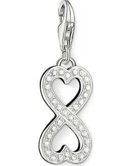 Charm Club Silver And Zirconia Infinity Heart Charm