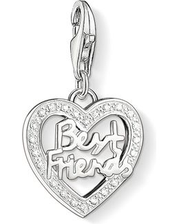 Charm Club Silver And Zirconia Best Friends Charm Pendant