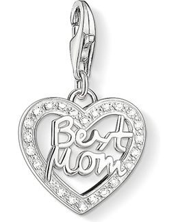 Charm Club Silver And Zirconia Best Mom Charm Pendant