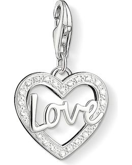 Charm Club Silver And Zirconia Love Charm Pendant