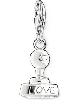 Charm Club Silver And Zirconia Love Stamp Pendant