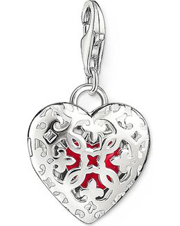 Charm Club Silver And Enamel Heart Locket Charm Pendant