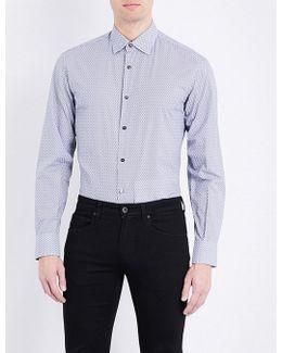 Regular-fit Geometric-print Cotton Shirt