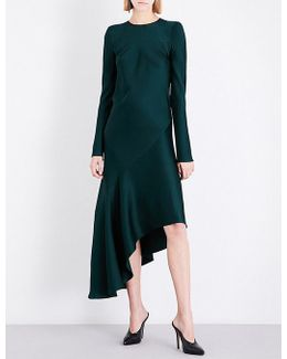Asymmetric Crepe Midi Dress