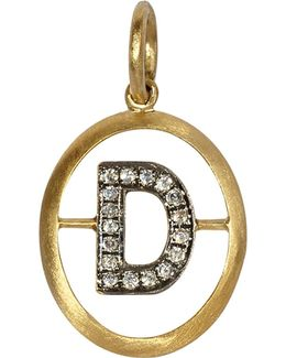 18ct Yellow-gold And Diamond D Pendant