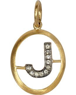 Alphabet 18-ct Yellow-gold And Pavé-diamond Pendant - J