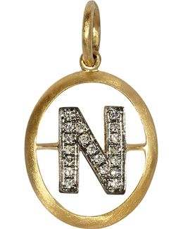 18ct Yellow-gold And Diamond N Pendant