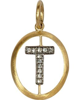 18ct Yellow-gold And Diamond T Pendant