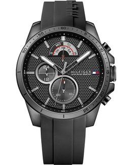 1791352 Black Stainless Steel And Rubber Watch