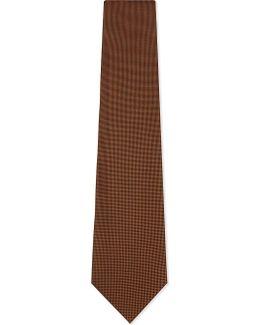 Mens Orange Textured Traditional Micro-diamond Silk Tie