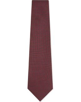 Mens Red Square Small Squares Silk Tie