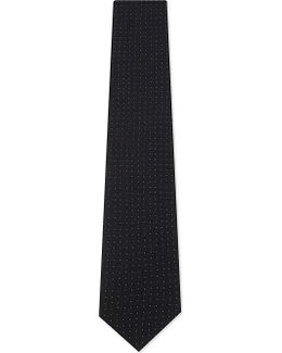 Mens Black Textured Classic Pin-dot Silk Tie
