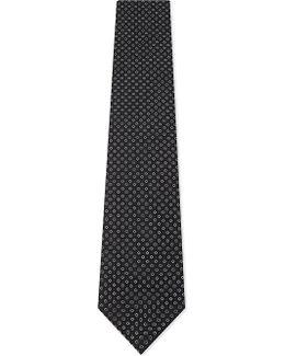 Mens Navy Textured Luxury Micro Jacquard Cross Silk Tie