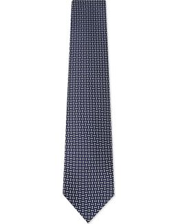 Mens Blues Embellished Diamond And Squares Silk Tie