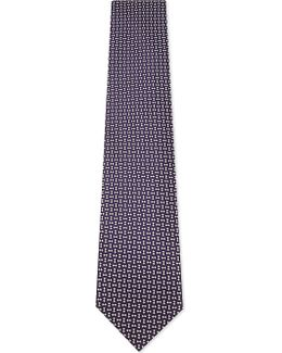 Mens Purple Square Diamond-square Silk Tie