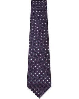 Mens Purple Floral Classic Medallion Silk Tie