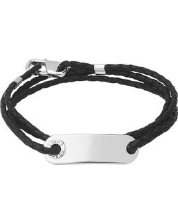 Soho Id Leather And Sterling Silver Bracelet