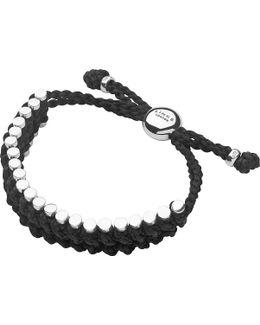 Sterling Silver And Black Rope Friendship Bracelet