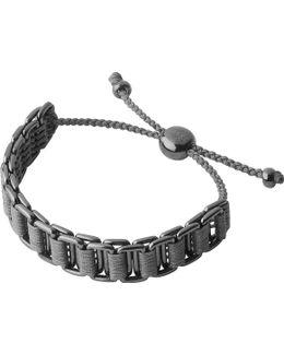 Ruthenium And Woven Cord Friendship Bracelet
