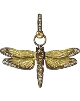 Dragonfly 18ct Yellow-gold And Diamond Pendant