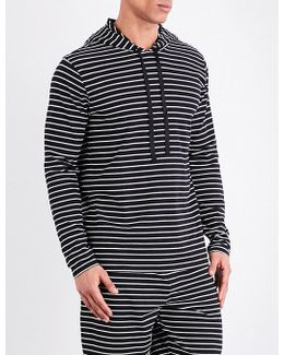 Striped Cotton-jersey Hooded Top