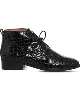 Larkin Croc-embossed Leather Boots