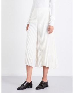 Fanned Wide-leg Cropped Pleated Trousers
